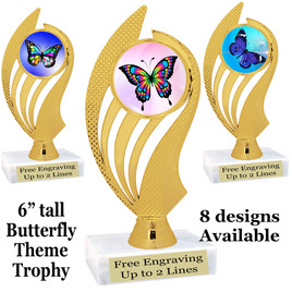 """Butterfly theme trophy with choice of 8 artwork designs.  6"""" tall.   (ph102"""