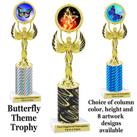 Butterfly theme trophy.  Choice of column color, trophy height and artwork.    (80087