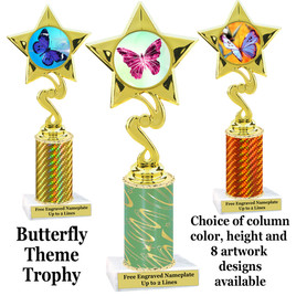 Butterfly theme trophy.  Choice of column color, trophy height and artwork.    (80106