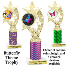Butterfly theme trophy.  Choice of column color, trophy height and artwork.    (h208