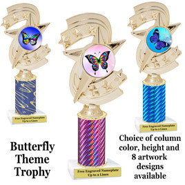 Butterfly theme trophy.  Choice of column color, trophy height and artwork.    (h300