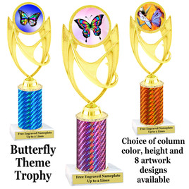 Butterfly theme trophy.  Choice of column color, trophy height and artwork.    (ph28
