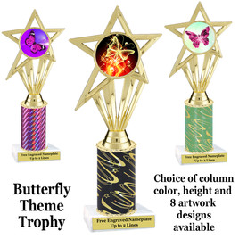 Butterfly theme trophy.  Choice of column color, trophy height and artwork.    (ph30