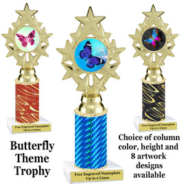 Butterfly theme trophy.  Choice of column color, trophy height and artwork.    (ph75