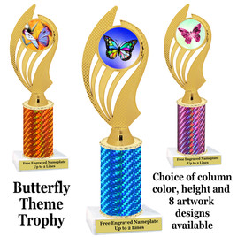 Butterfly theme trophy.  Choice of column color, trophy height and artwork.    (ph102