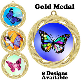 Butterfly theme medal with choice of 8 artwork designs.  938g