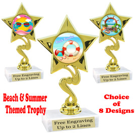 """Summer - Beach theme trophy.    6"""" tall. Choice of art work and base.  Includes free engraving  (80106"""