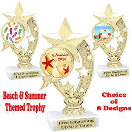 """Summer - Beach theme trophy.    6"""" tall. Choice of art work and base.  Includes free engraving  (h208"""