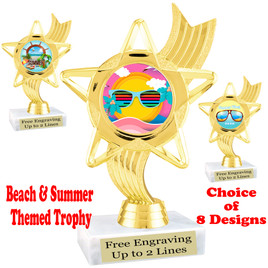 """Summer - Beach theme trophy.    6"""" tall. Choice of art work and base.  Includes free engraving  (ph27"""