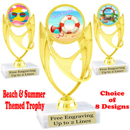 """Summer - Beach theme trophy.    6"""" tall. Choice of art work and base.  Includes free engraving  (ph28"""