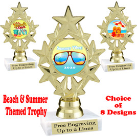 """Summer - Beach theme trophy.    6"""" tall. Choice of art work and base.  Includes free engraving  (ph75"""