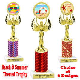 Summer - Beach theme trophy.  Choice of trophy height, column color and base. (80087