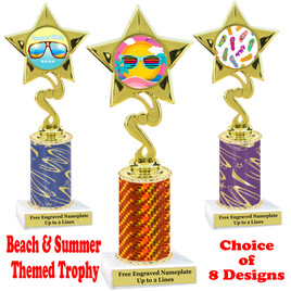 Summer - Beach theme trophy.  Choice of trophy height, column color and base. (80106