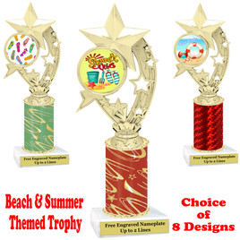 Summer - Beach theme trophy.  Choice of trophy height, column color and base. (h208