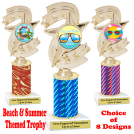 Summer - Beach theme trophy.  Choice of trophy height, column color and base. (h300