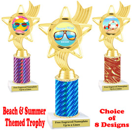 Summer - Beach theme trophy.  Choice of trophy height, column color and base. (ph27