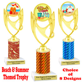 Summer - Beach theme trophy.  Choice of trophy height, column color and base. (ph28
