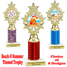 Summer - Beach theme trophy.  Choice of trophy height, column color and base. (ph75
