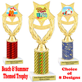 Summer - Beach theme trophy.  Choice of trophy height, column color and base. (ph97