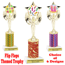 Flip Flop  theme trophy.  Choice of trophy height, column color and base. (7517