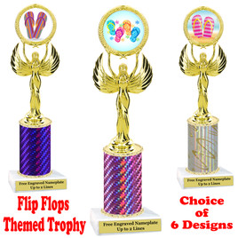 Flip Flop  theme trophy.  Choice of trophy height, column color and base. (80087