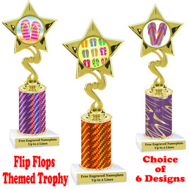 Flip Flop  theme trophy.  Choice of trophy height, column color and base. (80106