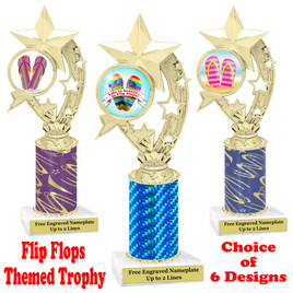 Flip Flop  theme trophy.  Choice of trophy height, column color and base. (h208