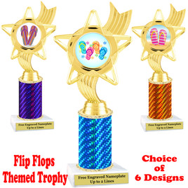 Flip Flop  theme trophy.  Choice of trophy height, column color and base. (ph27
