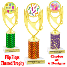 Flip Flop  theme trophy.  Choice of trophy height, column color and base. (ph28