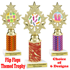 Flip Flop  theme trophy.  Choice of trophy height, column color and base. (ph75