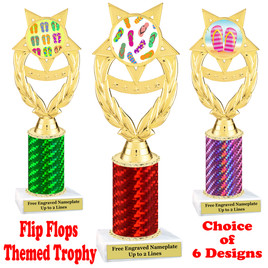 Flip Flop  theme trophy.  Choice of trophy height, column color and base. (ph97
