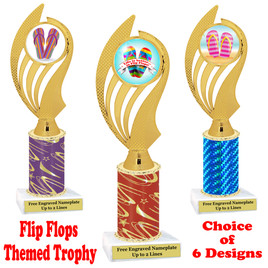 Flip Flop  theme trophy.  Choice of trophy height, column color and base. (ph102