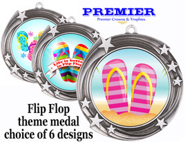 Flip Flop theme medal.  Antique Silver medal finish.  Choice of 6 designs. Includes free engraving and neck ribbon  (930s