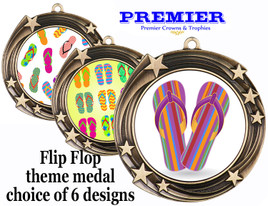 Flip Flop theme medal.  Antique Gold medal finish.  Choice of 6 designs. Includes free engraving and neck ribbon  (930g