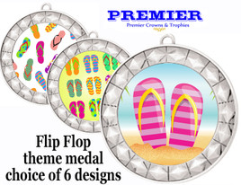Flip Flop theme medal.  Silver medal finish.  Choice of 6 designs. Includes free engraving and neck ribbon  (935s