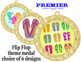 Flip Flop theme medal.  Gold medal finish.  Choice of 6 designs. Includes free engraving and neck ribbon  (935g
