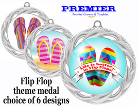 Flip Flop theme medal.  Silver medal finish.  Choice of 6 designs. Includes free engraving and neck ribbon  (938s
