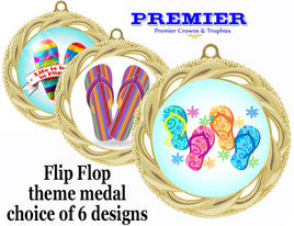 Flip Flop theme medal.  Gold medal finish.  Choice of 6 designs. Includes free engraving and neck ribbon  (938g
