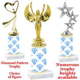 Diamond  pattern  trophy with choice of trophy height and figure - diamond 001