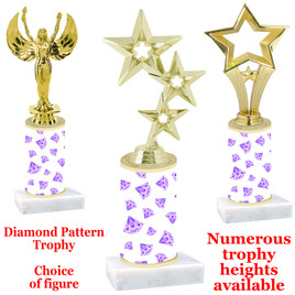 Diamond  pattern  trophy with choice of trophy height and figure - diamond 003