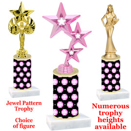 Jewel  pattern  trophy with choice of trophy height and figure - jewel 001