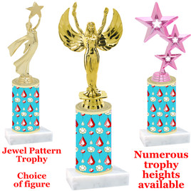 Jewel  pattern  trophy with choice of trophy height and figure - jewel 002
