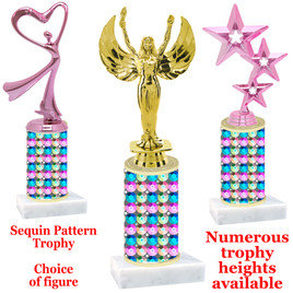 Sequin  pattern  trophy with choice of trophy height and figure - sequin 002