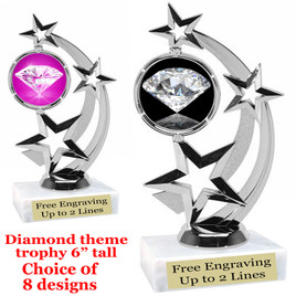 "Diamond  theme trophy.    6"" tall. Choice of art work and base.  (663S"