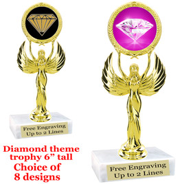 "Diamond  theme trophy.    6"" tall. Choice of art work and base.  (80087"