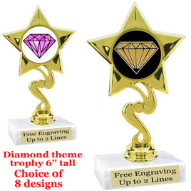 "Diamond  theme trophy.    6"" tall. Choice of art work and base.  (80106"