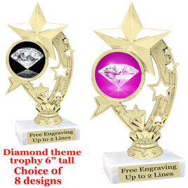 "Diamond  theme trophy.    6"" tall. Choice of art work and base.  (h208"
