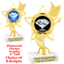 "Diamond  theme trophy.    6"" tall. Choice of art work and base.  (ph27"