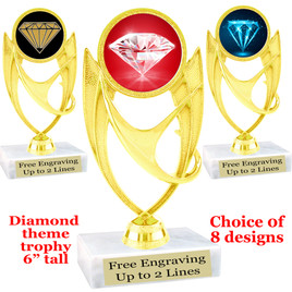 "Diamond  theme trophy.    6"" tall. Choice of art work and base.  (ph28"