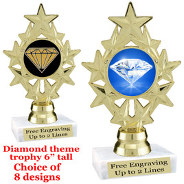 "Diamond  theme trophy.    6"" tall. Choice of art work and base.  (ph75"